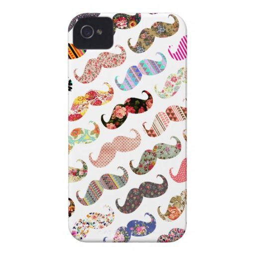 Funny Girly  Colorful Patterns Mustaches Case-Mate iPhone 4 Case