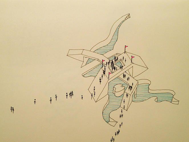 "JOSH LEWANDOWSKI ""SADECE 'Neden""  İsimli Nefis Absürd Mimari Çizimler; #nailatasoy #dnamimarlık #dnaarchitecture #codeofdesign  http://www.fastcodesign.com/3019557/11-delightfully-absurd-architectural-drawings"