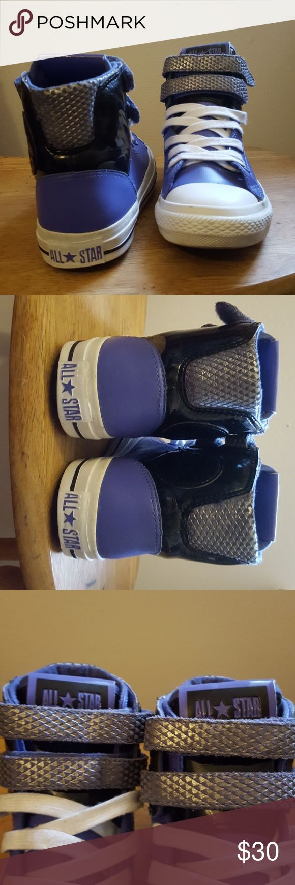 High top purple converse with Velcro Slightly worn/lightly scuffed; They are a male size 5 shoe so when looking at the bottom that is why it says 5. Converse Shoes Lace Up Boots