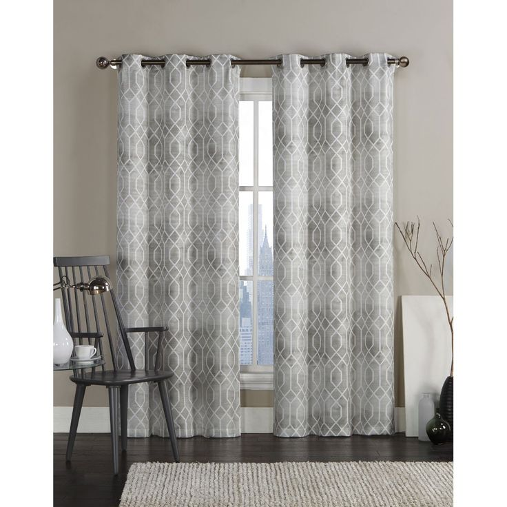 Vcny Andreas Grommet Top 96-inch Curtain Panel Pair (Beige), Size 96 Inches (Polyester, Geometric)