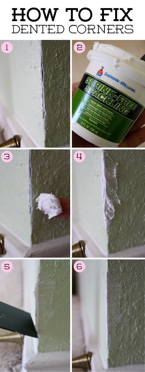 DIY on how to fix crumbled and cracked corners in the walls - THEN go buy the plastic corner protectors so you NEVER have to do this again.  wink