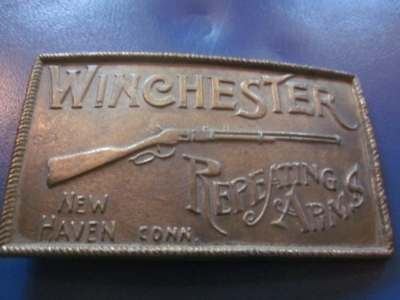 winchester brass belt buckle, hunting. guns. buckles on Etsy, $24.99