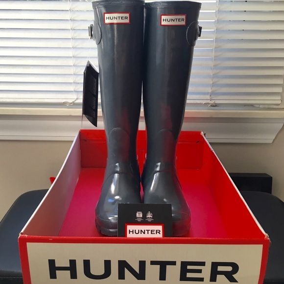 $95 TODAY!! Hunter Glossy Boots NWT charcoal grey Hunter Boots!  Purchased for my mom but too small :( So have never been worn.  Size labeled US 4M/5F, EU 35/36.  Will work best for sz 4 up to 5.5.   Will include care card.   I don't have the original box anymore but will find a suitable one to pack these in if purchased(box pictured is my personal one for a red pair I have).                            ❌Please ask me for reduced price before purchase❌ Hunter Boots Shoes Winter & Rain Boots