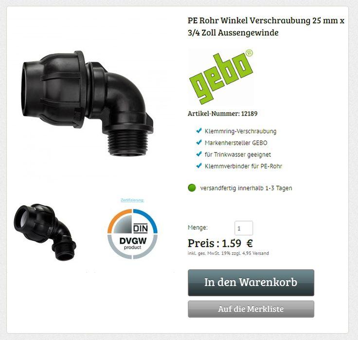 Gebo PE Rohr Winkel 25 mm auf 3/4 Zoll AG Verschraubung Bogen Rohrwinkel Klemmverbinder Fitting Klemmverschraubung  #pe-rohr #verschraubung #klemmverschraubung #klemmverbinder #fitting