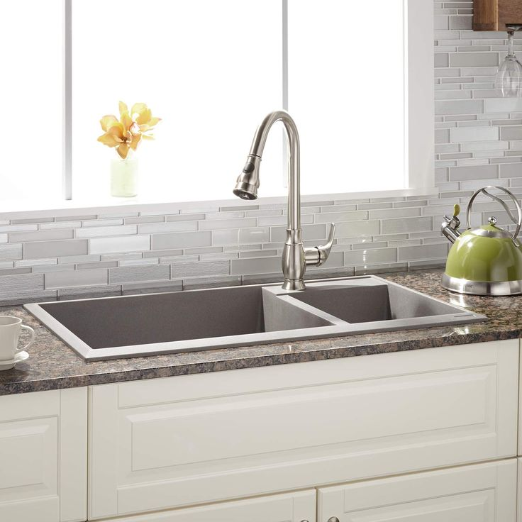 """34"""" Arvel 70/30 Offset Double-Bowl Drop-In Granite Composite Sink - Single Faucet Hole - Gray"""