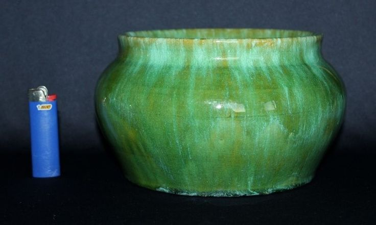 Vintage Australian Pottery Huge JOHN CAMPBELL Pot Heavy Salt Glazes Signed C1935