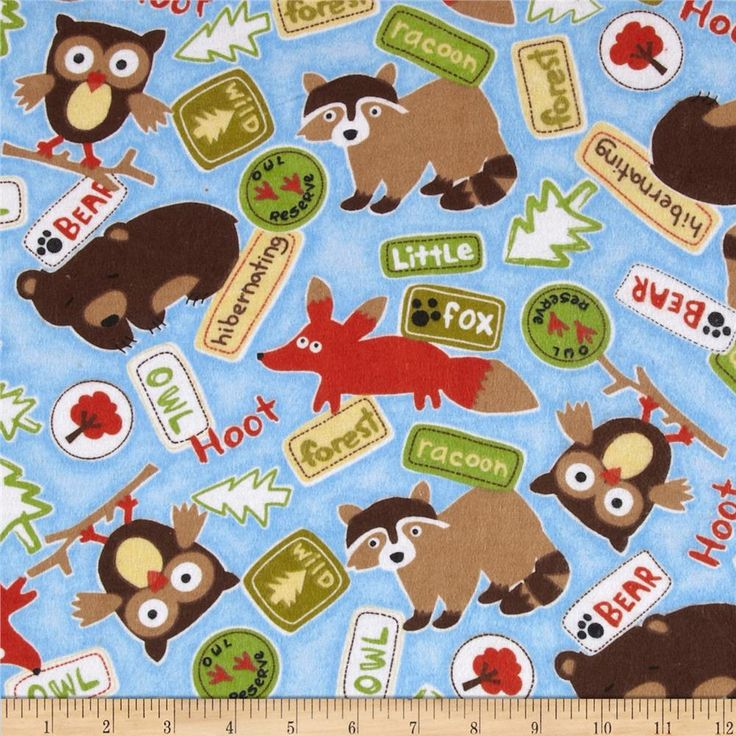 Comfy Flannel Woodland Critters & Signs Blue from @fabricdotcom  This double-napped (brushed on both sides) flannel is perfect for quilting, apparel and home decor accents.  Colors include blue, white, black, brown, yellow, tan and orange.