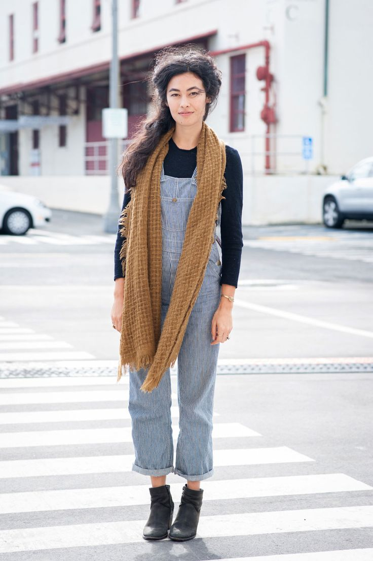 27 Brilliant Outfits From The World's Chicest Craft Fair #refinery29 http://www.refinery29.com/2014/12/78950/west-coast-craft-fair-style#slide42 Malia Man in vintage overalls and Mgrace jewels.