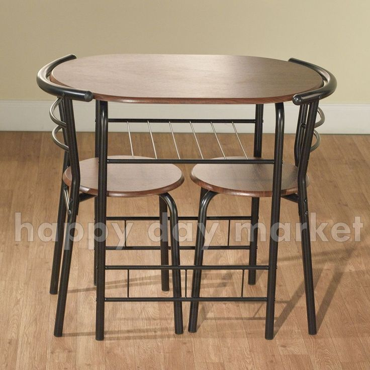 3 Piece Bistro Dining Set Kitchen Furniture Black Espresso Table 2 Chairs