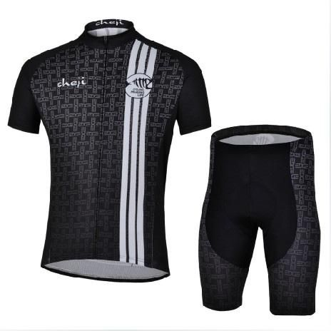[Visit to Buy] CHEJI Black Cycling Jersey clothes Sleeves new Set Bike Team Shirt new clothess/news Mallot Ciclismo Trajes de Ciclista 2015 #Advertisement