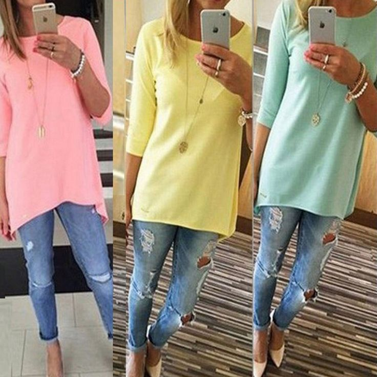 Women Casual Loose T Shirt Long Sleeve Crew Neck Tunic Top Shirt Blouse Pullover #Unbranded #Blouse #Casual