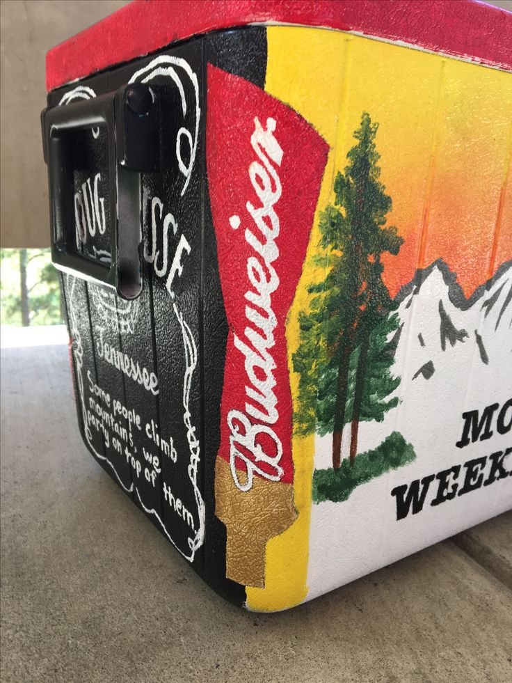 Fraternity cooler for mountain weekend. Beta theta pi. Budweiser