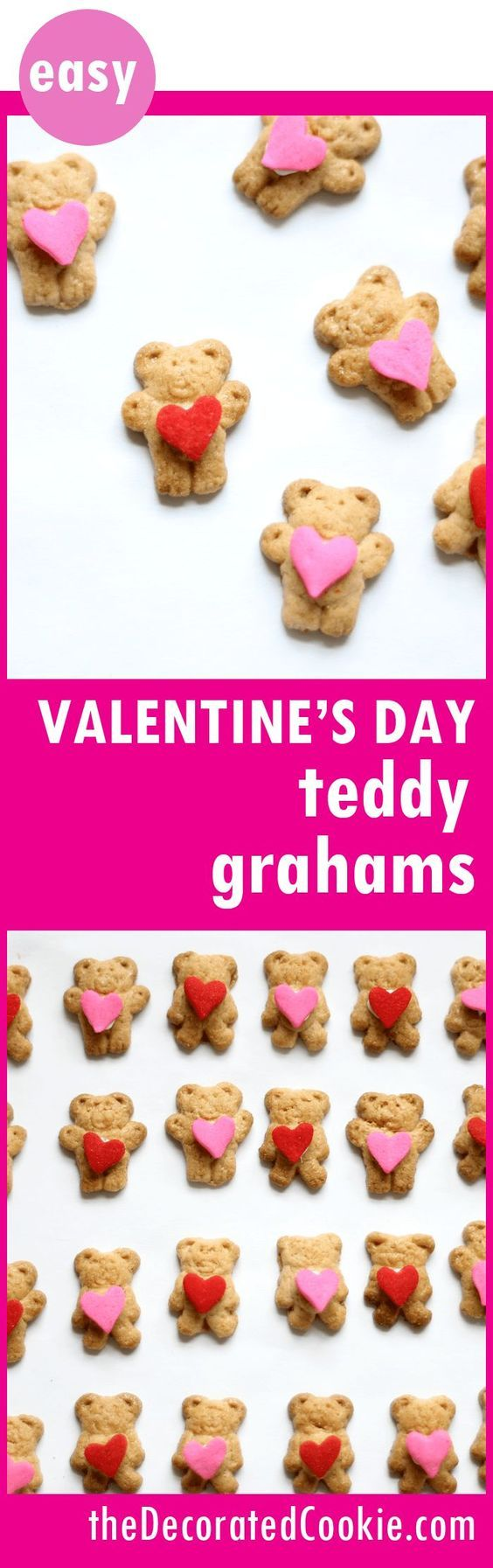 Valentine's Day heart-hugging Teddy Grahams, a cute and easy fun food treat for Valentine's Day using store-bought cookies.