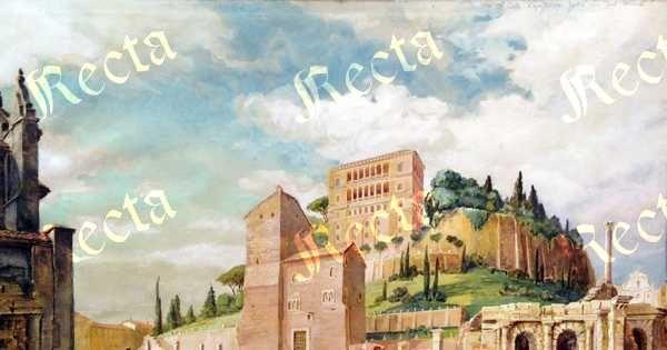 Acquerello su carta 36cm x 54cm  ♦  Recta Galleria d'arte -  Roma - Pittori e dipinti dell'ottocento e novecento, arte e scultura 800 e primo 900