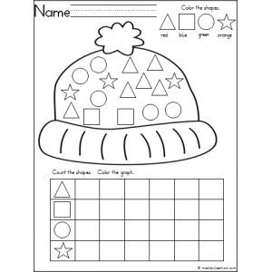 Free Kindergarten winter shape practice with this graphing and coloring activity.