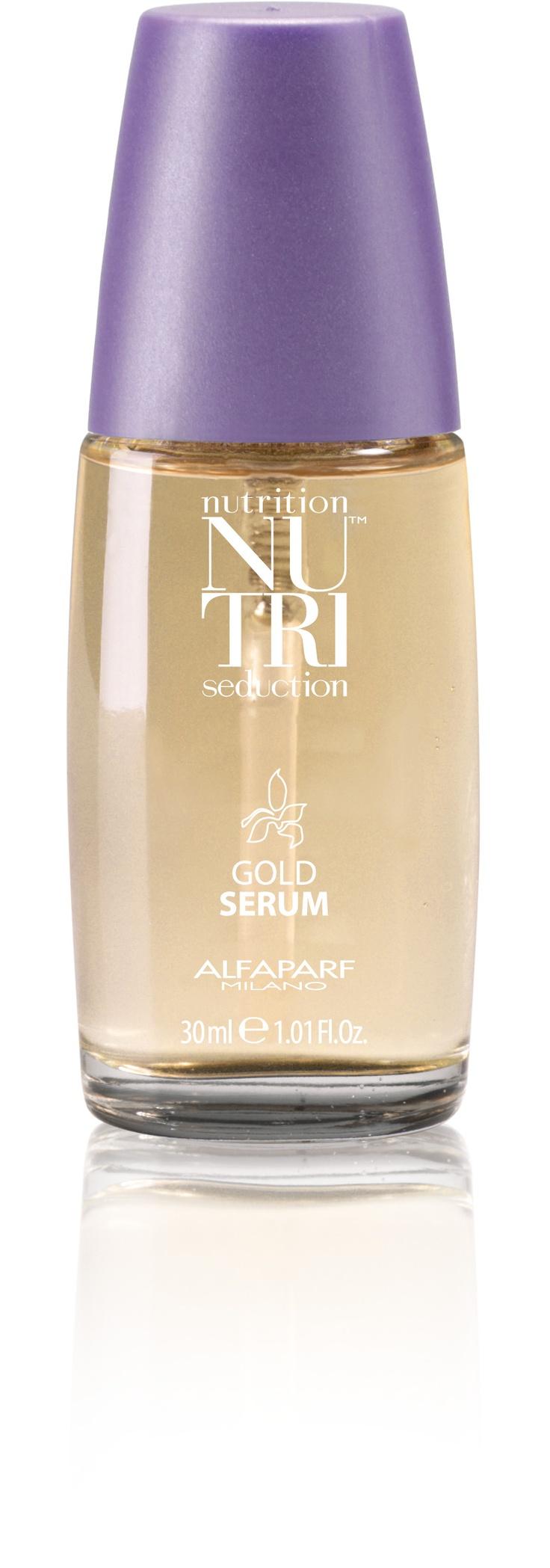 Gold Serum, Viste el cabello con una película imperceptible de extraordinaria suavidad. Alisa las imperfecciones de la cutícula y repara las puntas. Rico en Vitamina E y Agentes Protectores, protege el cabello dándole una definición y una transparencia sorprendentes. Resultados inmediatamente visibles.