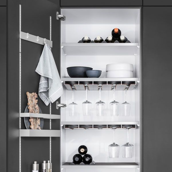 SieMatic MultiMatic brings elegant organization to kitchen cabinets - both highly flexible and aesthetically pleasing.
