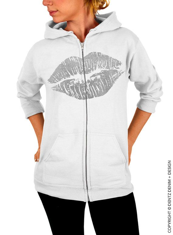 """Use coupon code """"pinterest"""" Lips Hoodie - Lipstick Kiss - Valentine's Day - White with Silver Zip Up Hoodie - Hooded Sweatshirt by DentzDenim"""