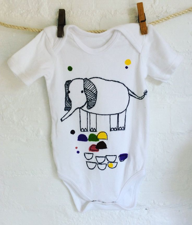 Babygrow with elephant detail by Poprikot on Etsy