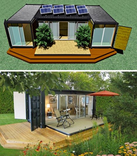 Shipping container homes covered with wood built into hills with solar power natural light. Just bit off the grid but eco-nomic beautiful.