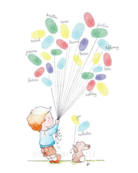Baby Fingerabdruck Gästebuch - Baby Dusche Fingerabdruck Ballons - Boy Baby Dusche Print - Boy Baby Dusche Keepsake - Baby-Dusche-Aktivität