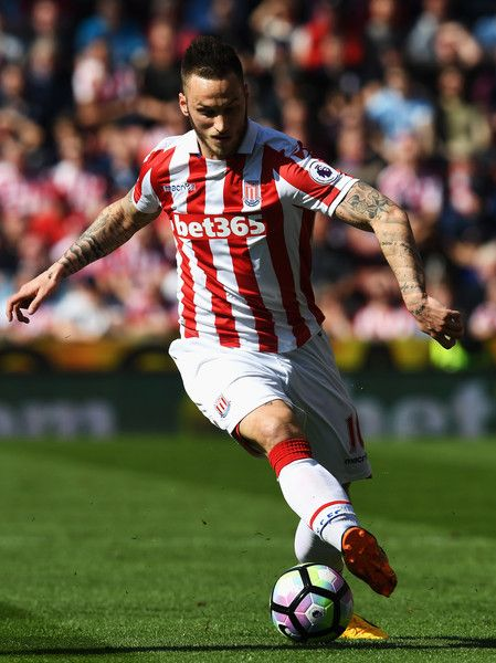 Marko Arnautovic of Stoke City in action during the Premier League match between Stoke City and Liverpool at Bet365 Stadium on April 8, 2017 in Stoke on Trent, England.