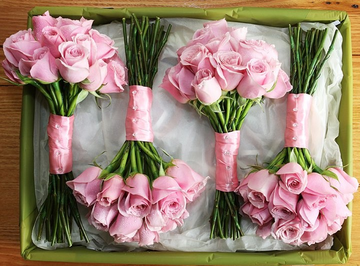 Pink rose posies, with satin ribbon & diamonte pins # weddings  www.RedEarthFlowers.com.au
