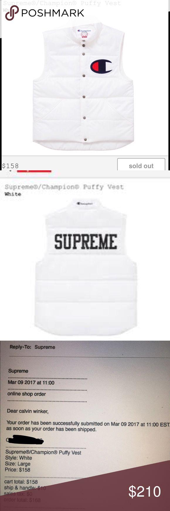 Selling this Supreme x Champion Large Puffy White Vest on Poshmark! My username is: calwinker. #shopmycloset #poshmark #fashion #shopping #style #forsale #Supreme #Other #Champion #Vest