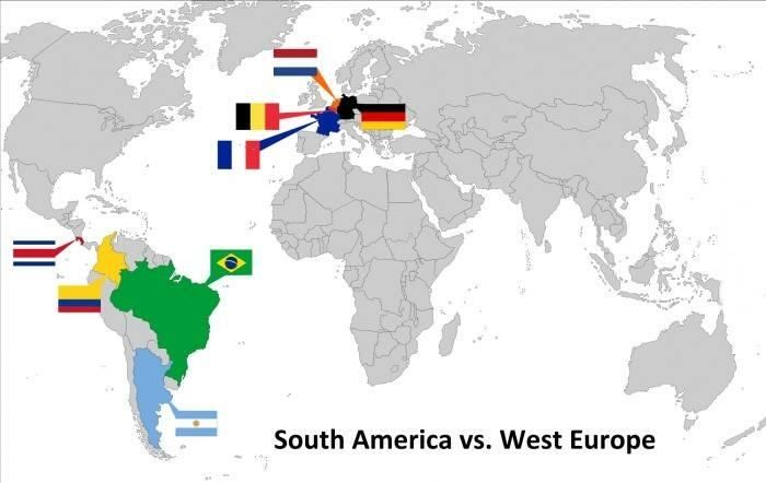 Interesting- South America vs W/Europe - not thought about it until now @Footy_Jokes  World Cup 2014 - Quarter Finals Embedded image permalink