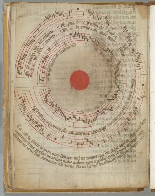 erikkwakkel:  Circular song Medieval music books, with their merry notes jumping off the page, are a pleasure to look at. This sensational page from the 14th century adds to this experiencein a most unusual manner. It presents a well-known song, the French ballade titledEn la maison Dedalus (In the house of Dedalus), be it that the scribe decided to write both music and lyrics in a circular form. There is reason behind this madness. The maze created by music and words locks up the main ...