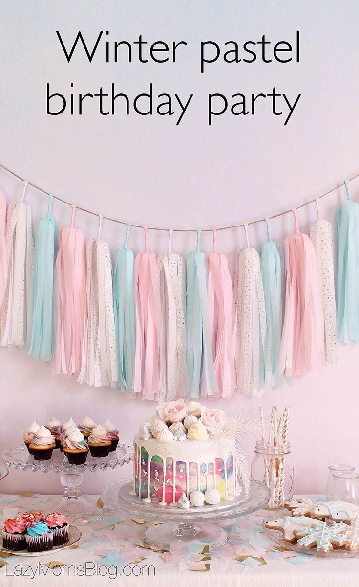 Winter pastel birthday party December birthday parties