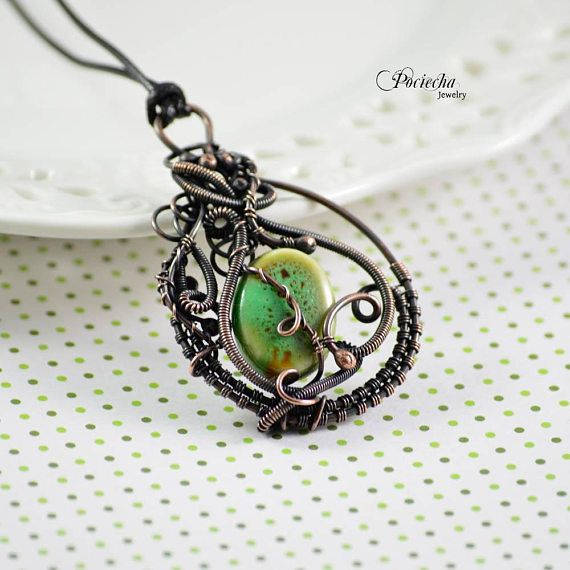Ceramic copper  necklace green wire wrapped bohemian jewelry