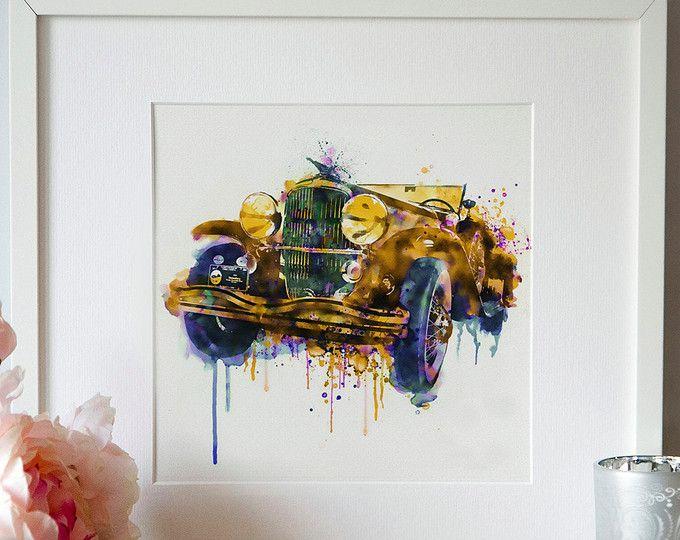 Oldtimer auto aquarel schilderij kunst aan de muur afdrukbare art Square schilderij Vintage auto Aquarelle druipend verf oude auto decor Art geschenken