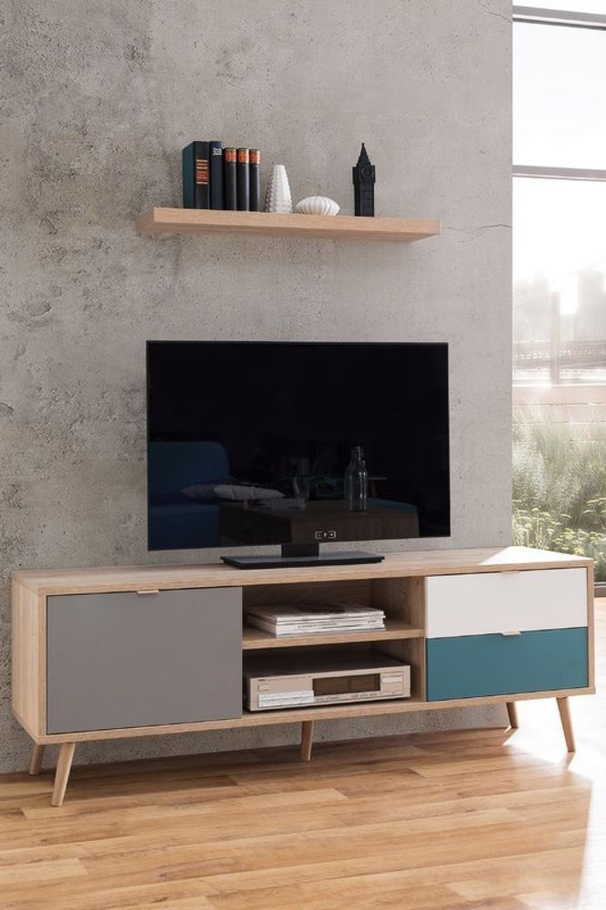 Retro Tv Cabinet Wooden Television Stand Media Storage Cupboard Drawer Shelves Regal Dekor Wohnzimmer Modern Phonoschrank