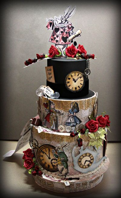 So cool! Alice in Wonderland scrap paper cake! A Scrapbook Junkie: Scrap 365 Blog Hop
