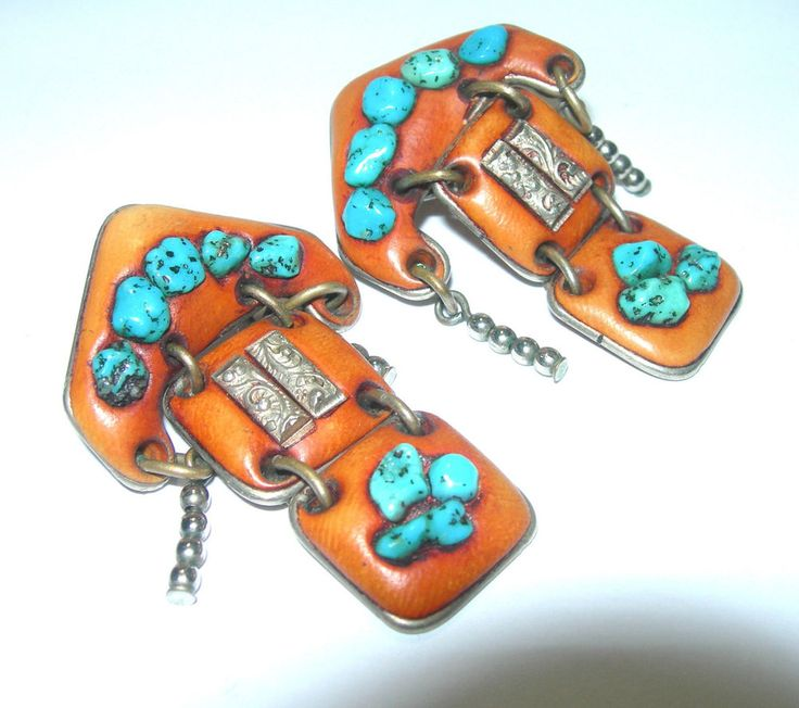VINTAGE STERLING SILVER ARTISAN STUDIO LEATHER TURQUOISE NUGGET LONG EARRINGS