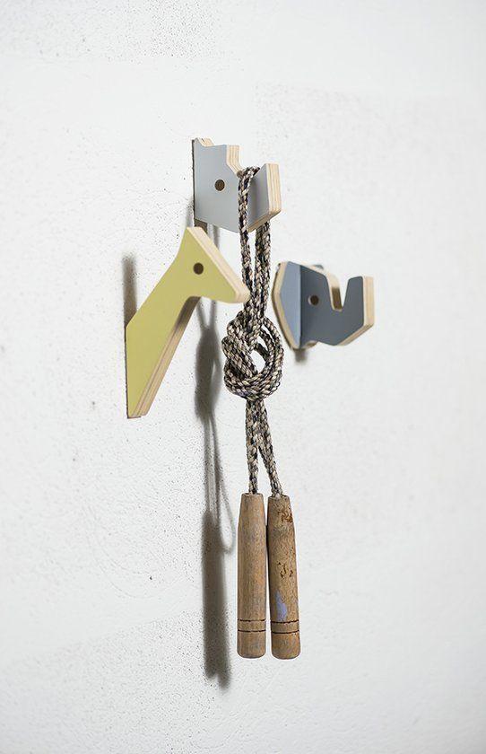 Sebra - Houten kapstokjes - set 3 stuks - Nijlpaard en vriendjes W2cm H13,5 D9,2cm