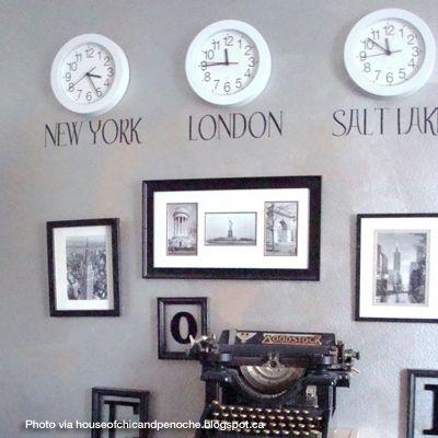 Home Decor, time zone clocks using vinyl lettering
