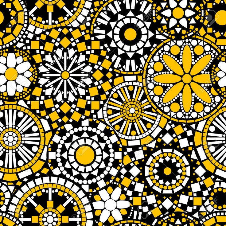Circle flower mandalas seamless pattern in black white and yellow, vector