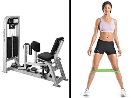 DO THIS NOT THAT Seated Hip Abductor Machine  What it's supposed to do: Train outer thighs.     What it actually does: it can put undue pressure on the spine.     A better exercise: Lateral Band Walks