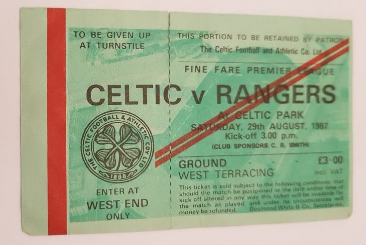 UNUSED Celtic v Rangers Premier League Ticket : 29th August 87 CENTENARY SEASON
