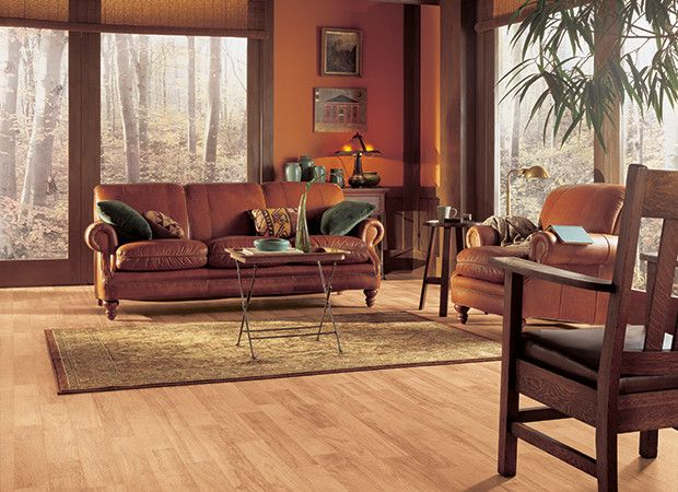 Light Natural Pecan Wood Look Vinyl Floor For Brown And Orange Living Room Design