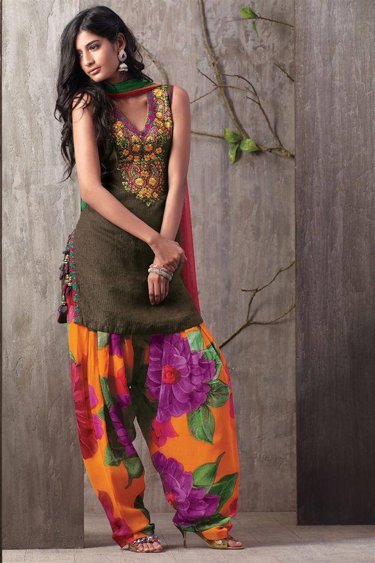 Forest colour kameez, floral salwar, green and orange chunni