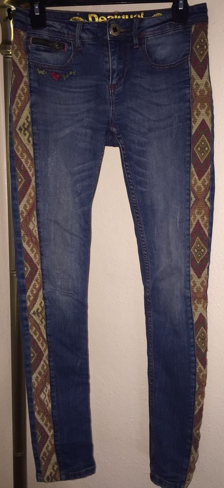 These are an awesome pair of women's Desigual Straight Leg Jeans size 26 in excellent condition. LOVE the sides! They are not jeans material. They are woven fabric. These pants are 99% cotton, but the 1% used gives them a huge amount of stretch. | eBay!