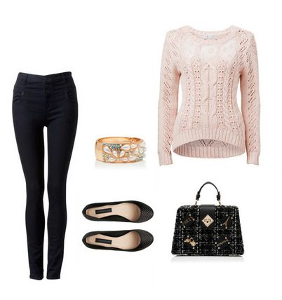 Yüksek bel siyah pantolonu pudra rengi trikoyla eşleştirin. www.forevernew.com.tr