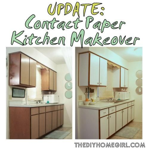 Previous Kitchen Makeover with Contact Paper Before and After rental apartment cabinets drawers cupboards