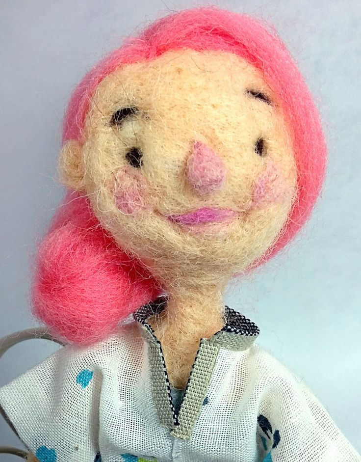 Needle felted, pink haired doll by CanellaCrafts on Etsy