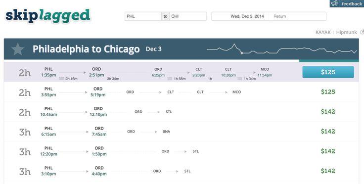 A screenshot from Skiplagged.com