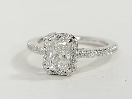 so in love with this. Radiant Cut Halo Diamond Engagement Ring in 14K White Gold