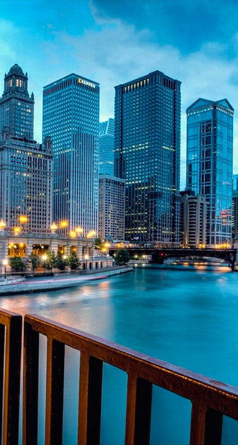Blue Hour on the Chicago River and New Eastside in Chicago's Loop District ~ Illinois